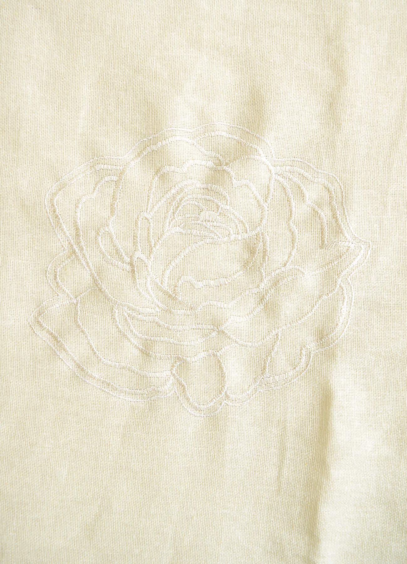 刺繍カーテン ホワイトローズ①全体