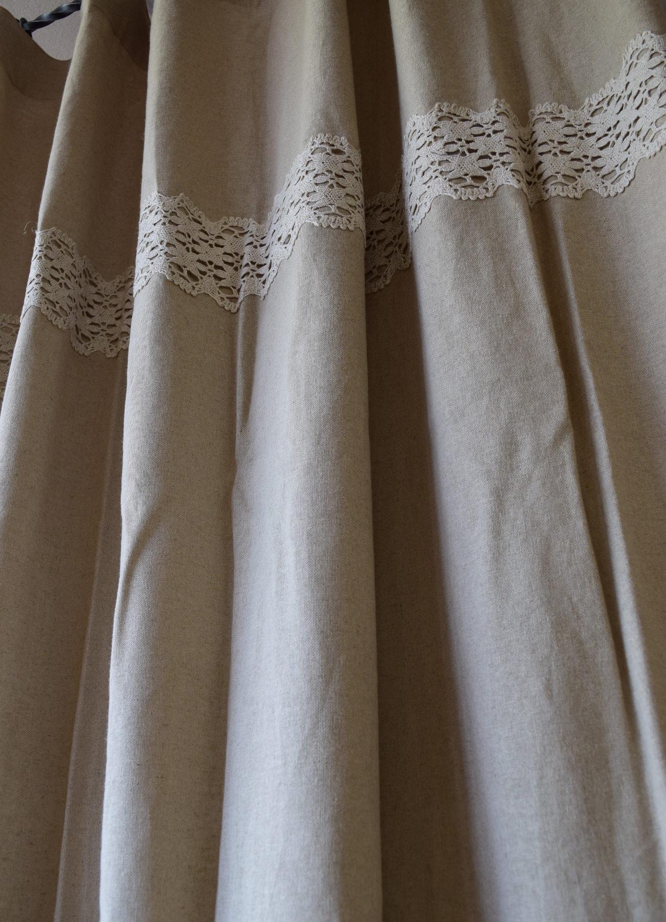 飾りリボン付きカーテン④ リノフレンチグレー