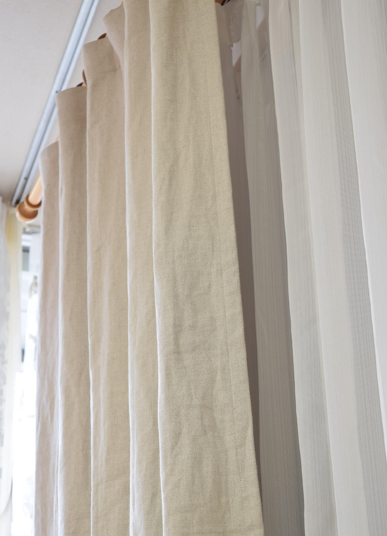 麻のカーテン リノヘリンボーン
