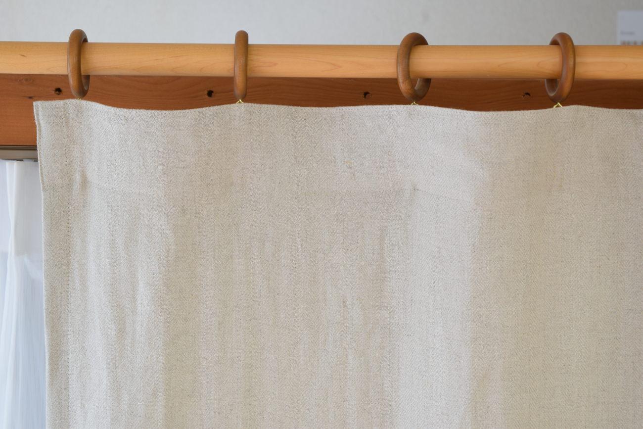 天然素材のカーテン リノヘリンボーン