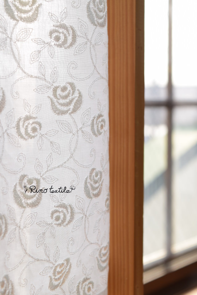 刺繍カフェカーテン