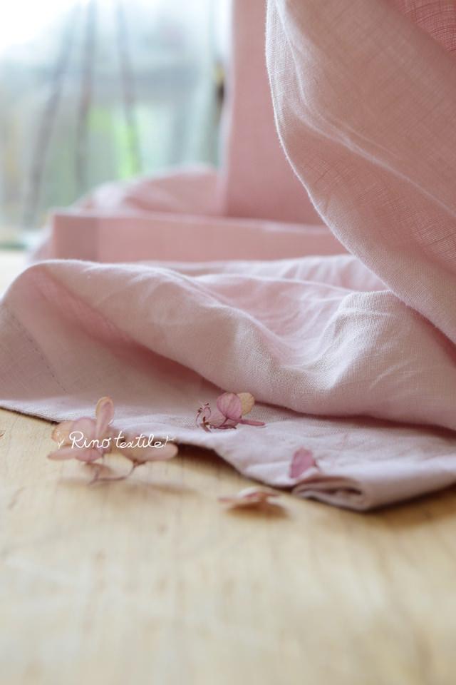 ベビーピンク天然素材カーテン